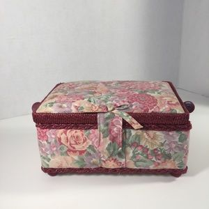 Asian Crafted Pink Floral Sewing Basket!